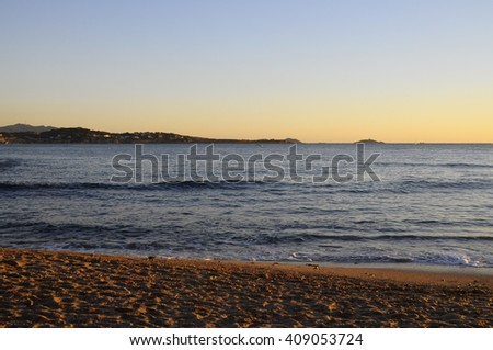Sunset Mediterranean sea landscape in south france, near Bandol - stock photo