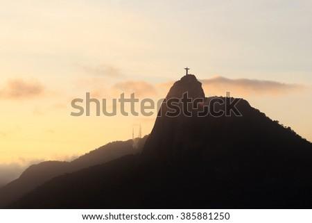 Sunset Mountain Corcovado, Rio de Janeiro, Brazil. Selective focus - stock photo