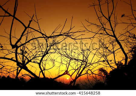 Sunset Mountain North Thailand - stock photo
