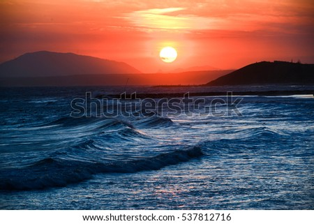 Sunset Mountain Sea Beach Background Landscape Nature Town Water Beautiful Summer Travel Sun View Sky Yellow