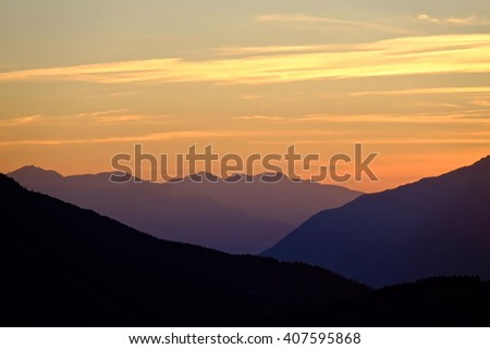 Sunset. Mountains. Clouds.  California, United States of America.
