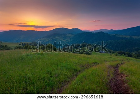 Sunset mountains landscape. Dramatic sky. Carpathian, Ukraine, Europe. - stock photo