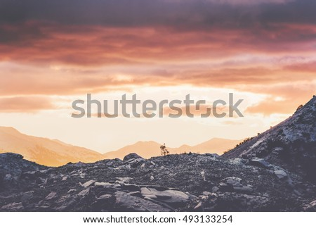 Sunset Mountains Landscape Travel serene scenic view natural colors