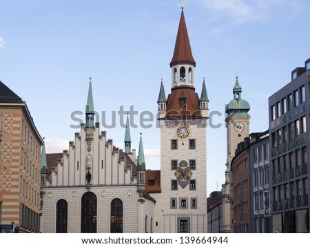 sunset Munich skyline with famous old city hall building, Alltes Rathaus on German