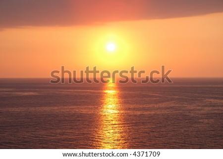 Sunset near Baku at the Caspian  Sea - stock photo