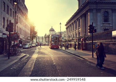 sunset near Trafalgar square, London, UK - stock photo