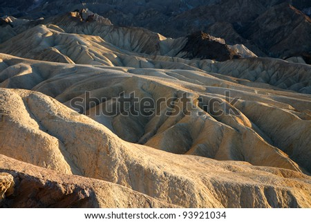 Sunset near Zabriskie Point in Death Valley, California.