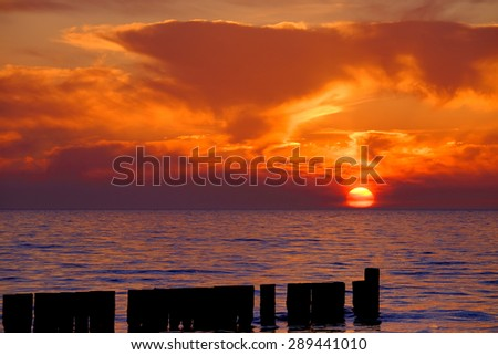 Sunset nearby Ahrenshoop - stock photo