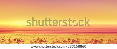Sunset ocean beach. Tropical paradise. Panoramic view. - stock photo