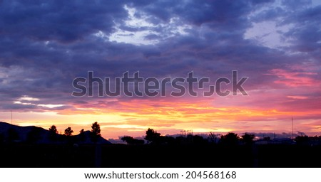 Sunset of Aguascalientes, Aguascalientes state, North Central Mexico, is one of the most beautiful in Mexico or probably in the world. - stock photo