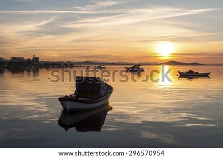 Sunset of Ayvalik - stock photo