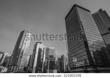 Sunset of Central and Admiralty in Black and White, Hong Kong - 6 Sep 2015: It is the central business district of Hong Kong. It is located in Central and Western District.