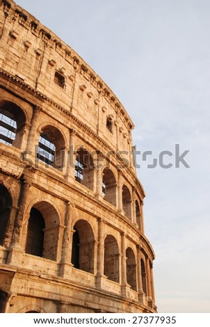 sunset of coliseum roma italy