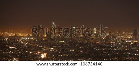 Sunset of Downtown Los Angeles skyline - stock photo