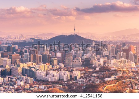 Sunset of Seoul City Skyline, The best view of South Korea. - stock photo