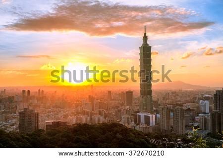 Sunset of Taipei, Taiwan - stock photo