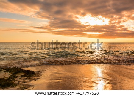 sunset of the caribbean with palms and white sand beach on the tropical island Bayahibe Dominican Republic
