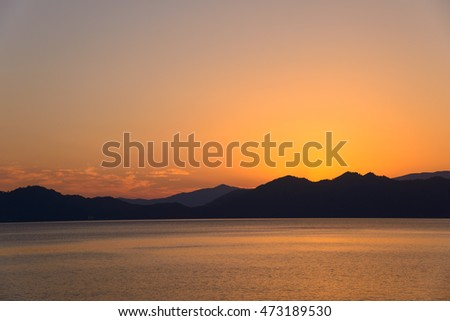 Sunset of the Lake Tazawa in Semboku, Akita, Japan