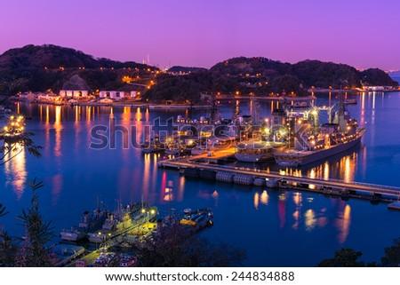 Sunset of Yokosuka base(Japan NAVY) - stock photo