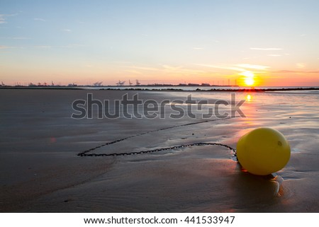 Sunset on a beach in Belgium, Knokke.