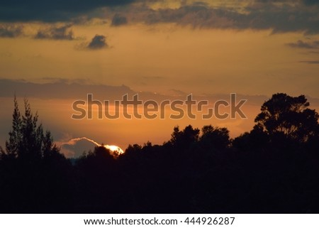 Sunset on a hill