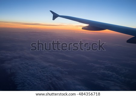 sunset on airliner