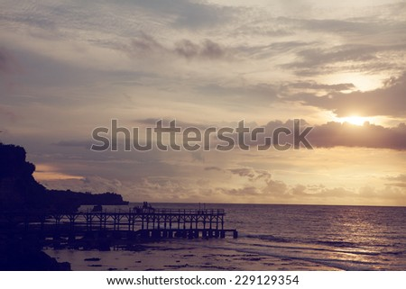 sunset on Bali - stock photo
