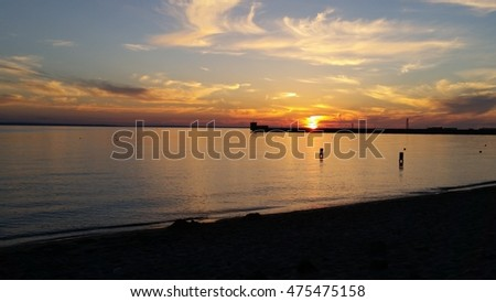Sunset on beach in Hel in Poland