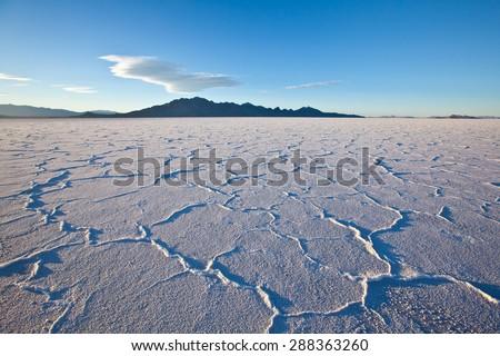 Sunset on Bonneville salt flats - USA - stock photo