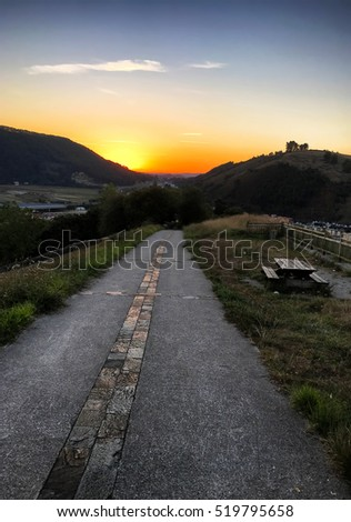 sunset on Camino de Santiago, pilgrimage route, Spain