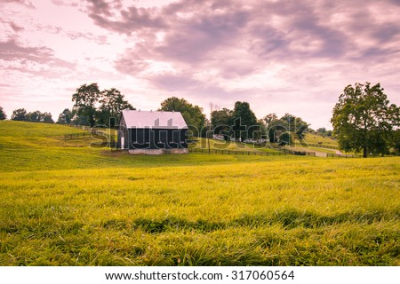 Sunset on countryside. Horse farms landscape. - stock photo