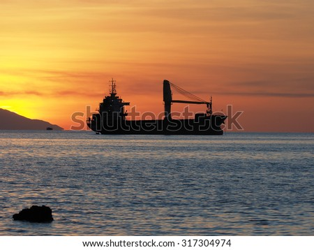 Sunset on flores island, bali, indonesia - stock photo