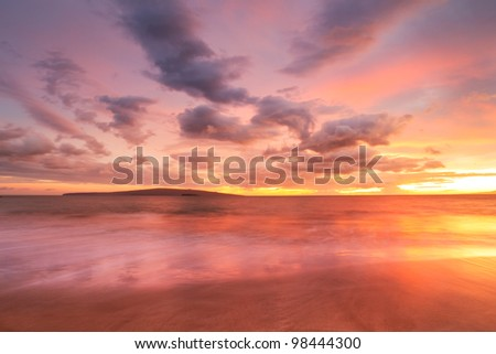 Sunset on Hawaii Beach