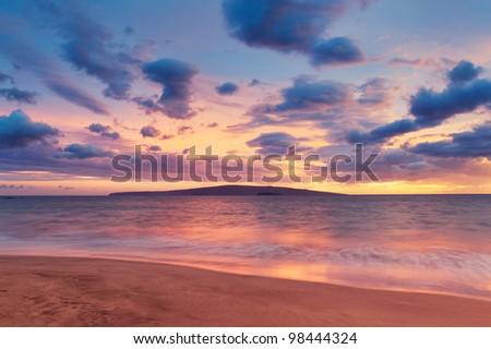 Sunset on Hawaii Beach - stock photo