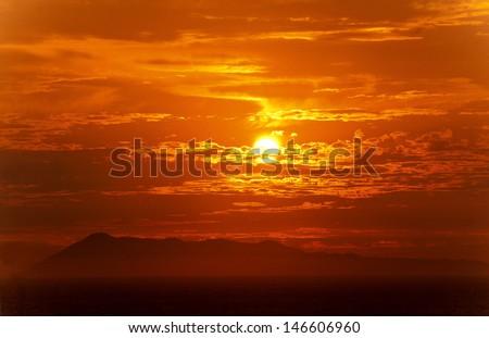 Sunset on Logas Beach near cape Drastis, Peroulades, Corfu, Greece  - stock photo
