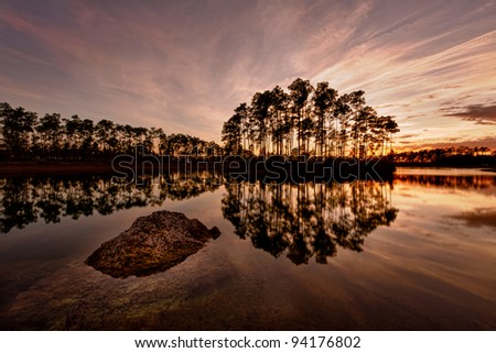 Sunset on Long Pines Key Lake in Everglades National Park near Homestead, Florida