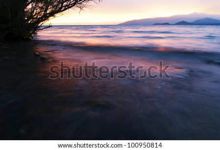 Sunset on Markakol lake in Altai mountains, Kazakhstan - stock photo