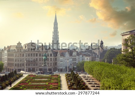 Sunset on Monts des Arts in Brussels, Belgium - stock photo