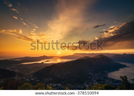 Sunset on Mount Lovcen in Montenegro. Panoramic views of the entire Bay of Kotor - stock photo