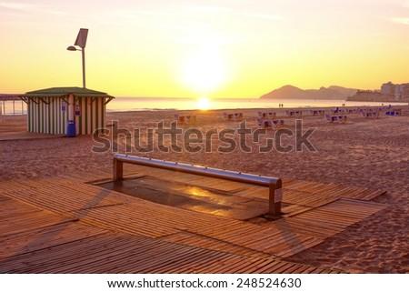Sunset on popular beach resort Benidorm,  Costa Blanca, Spain - stock photo