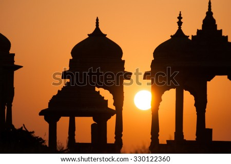 sunset on rajasthan temple - stock photo