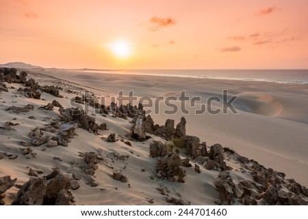 Sunset on sand dunes  in Chaves beach Praia de Chaves in Boavista Island Cape Verde - Cabo Verde - stock photo