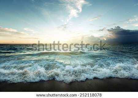 Sunset on Seychelles beach  - stock photo