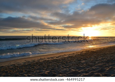 Sunset on Southern California beach