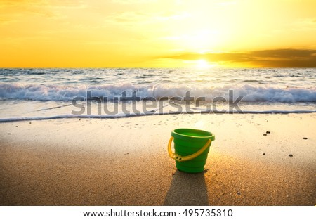 sunset on summer beach. Nature composition.