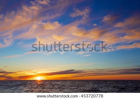 Sunset on the Arctic Ocean - stock photo
