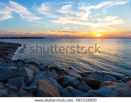 Sunset on the Baltic Sea (Warnemuende, Germany)