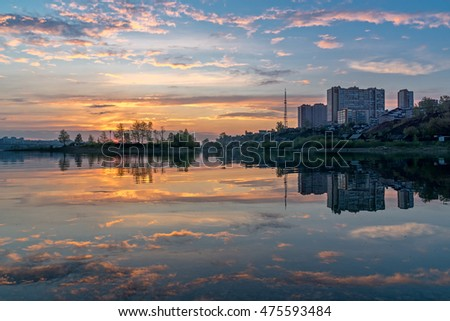 Sunset on the bank of Angara River, Irkutsk