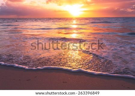 stock photo sunset on the beach 263396849 - Каталог — Фотообои «Закаты, рассветы»