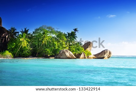 sunset on the beach, Anse Source d'Argent, La Digue island, Seychelles - stock photo